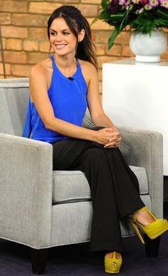 Rachel Bilson- blue top, citron sandals