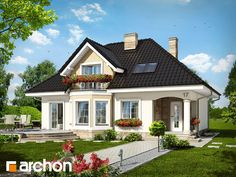 Haus in der Avocado - Sicht 1 - # Hausdesign - haus design - Model House Plan, House Plans, Roof Design, Exterior Design, Casas Country, House Construction Plan, Modern Bungalow House, Small Cottage Homes, House Design Pictures