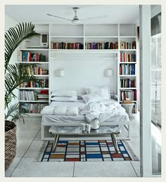 Bookshelves and Murphy bed. I love how the rug mirrors the bookcase.my fave layout so far I think:-) Appartement Design Studio, Murphy Bed Plans, Murphy Beds, Guest Room Office, Guest Rooms, Bed Wall, Dream Decor, Home Bedroom, Library Bedroom