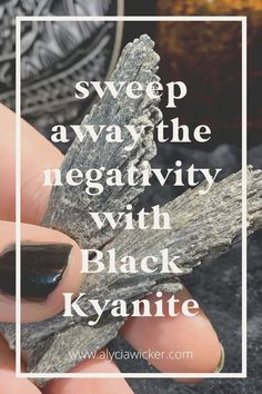 You'll want to have a Black Kyanite blade to serve as your personal protection agent. Black Kyanite is one tool that you'll want in your spiritual toolbox. When we talk about multi-purpose tools, this crystal is one of them. It is a crystal to balance your chakras, a crystal to balance, a crystal for protection, a crystal to cleanse your energy, and a crystal for your intuition. Place it on any chakra that you feel needs alignment or dissolve energy blockages for 10 minutes per chakra. Shop… Crystals For Sleep, Crystals For Manifestation, Crystal For Anxiety, Swept Away, Crystal Meanings, Toolbox, Chakras, Intuition, Cleanse
