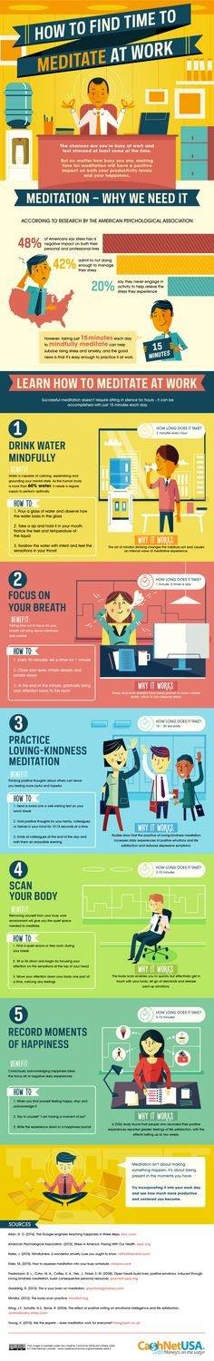 How to Find Time to Meditate at Work. Even just five minutes helps! You don't even have to leave your desk to feel peaceful at the office.