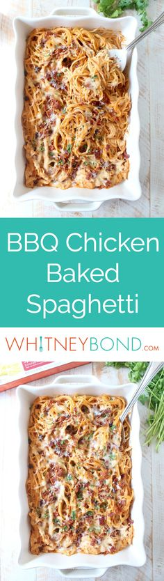 This creamy, dreamy Baked Spaghetti recipe is tossed in a cheesy, bbq sauce with shredded chicken & crispy bacon for a delicious meal made in under an hour! Baked in a 9x13 baking dish from @worldmarket. #WorldMarketTribe