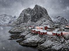 Hamnoy Winter Snowstorm - Winter snowstorm inside the Arctic Circle on the remote Lofoten Archipelago fishing village of Hamnoy, Norway.