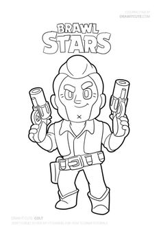 Watch my video to learn how to draw a super simple Colt from Brawl Stars. Always with free coloring page! Star Coloring Pages, Coloring Pages For Boys, Free Printable Coloring Pages, Coloring Sheets, Free Coloring, Blow Stars, Harry Potter Perler Beads, Sketches Tutorial, Cute Disney Wallpaper