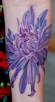 Chrysanthemum. Colors pop and it looks very realistic!!! Fav kind of tattoos :)