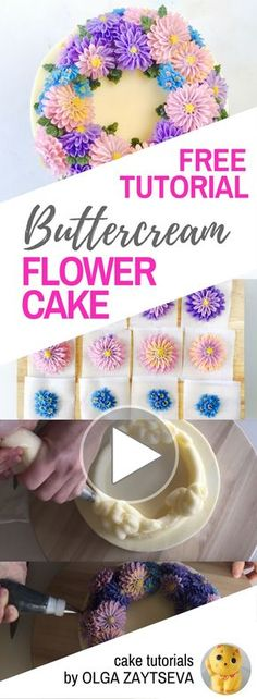 HOT CAKE TRENDS How to make Buttercream Aster Flower Wreath cake - Cake decorating tutorial by Olga Zaytseva. Learn how to make buttercream asters and create this fall inspired flower wreath cake. #cakedecorating