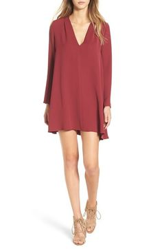 ASTRV-Neck Long Sleeve Shirtdress available at #Nordstrom in Blue Size M
