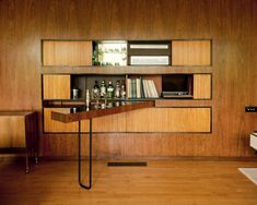 Swing out bar and entertainment center, a later update to the former maids' quarters by Patrick Gwynne within the family's residence he designed in known as The Homewood, Esher, Surrey UK Cosy Interior, Interior Design, 50s Furniture, Mcm House, Villa, Mid Century House, Retro Home, Mid Century Modern Design, House In The Woods