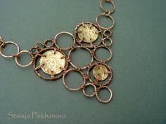 Wire wrapped necklace Copper necklace  Brass by StasyaWireWrap, $39.00