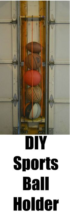 How to organize your garage. This DIY sport ball holder will help you to be able to organize your garage. Need to organize your garage? This DIY sports ball holder uses space between the garage doors to organize your space. Garage House, Garage Doors, Garage Signs, Garage Shop, Garage Door Makeover, Dream Garage, Front Doors, Organizing Hacks, Organizing A Garage