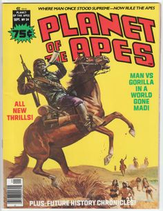 Planet Of The Apes Magazine #24, September 1976, VF/NM, Low Distribution; Bob Larkin cover painting, new story with Tom Sutton artwork, Chapter 2 of the adaptation of the fifth film by Doug Moench and Alfredo Alcala, POTA article with photos. $27