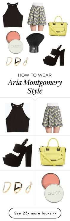 """Aria Montgomery (pll)"" by palmerlucy on Polyvore featuring Zara, Romeo & Juliet Couture, Charlotte Russe, Noir Jewelry, CARGO and e.l.f."