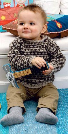 Strik for en god sag: Uldtrøje til baby fra Hendes Verden Baby Knitting Patterns, Baby Boy Knitting, Knitting For Kids, Crochet For Kids, Baby Patterns, Knit Crochet, Baby Kostüm, Baby Kind, Baby Sweaters