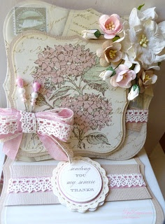 Lace combined with Seam Binding Card Making Templates, Card Making Tutorials, Vintage Cards, Vintage Paper, Shabby Chic Cards, Handmade Card Making, Step Cards, Shaped Cards, Beautiful Handmade Cards