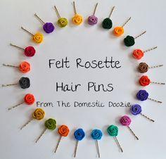 Felt Rosette Hair Pins craft, order felt, custom order, hair pins diy, rosett hair, felt rosett, 500, rosett idea, hair idea