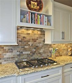 Love the shelf for cookbooks right in the kitchen. Not sure mine would look so nice, though.an backsplash Kitchen Redo, Kitchen Remodel, Kitchen Design, Kitchen Tiles, My Home Design, House Design, Up House, Backsplash Ideas, Backsplash Tile