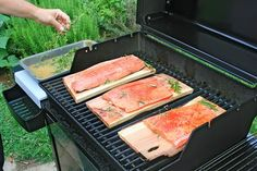 Street Food, Cuisine du Monde: Recette de saumon fumé à la planche de cèdre aux épices du Bayou, servi avec une salade de pommes de terre aux fines herbes, en sauce mayonnaise. Une recette de Louisiane, Etats-Unis