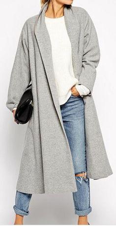 shawl neck swing coat