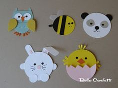 Circle punch animals! These would also make cute finger puppets out of felt.