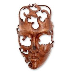 Novica Modern Wood Mask Wall Décor