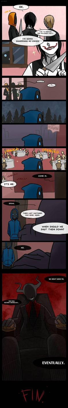 Creepypasta Cafe extra page by Alloween on DeviantArt Creepypasta Proxy, Creepypasta Characters, Cartoon Theories, Terrible Jokes, New Challenger, Creepy Pasta Family, Laughing Jack, Jeff The Killer, Scp