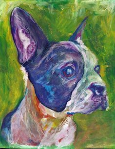 Boston terrier dog paintingdog gift idea Dog by OjsDogPaintings #bostonterrier #bostonbull #art #dogpainting
