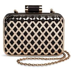 Women's Metal Diamond Cut Out Clutch Handbag with Chain Strap... ($35) ❤ liked on Polyvore featuring bags, handbags, clutches, pattern purse, chain strap purse, gold purse, man bag and handbags purses
