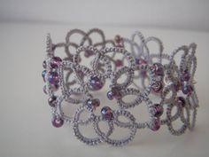 Fibre Lace Tatted Beaded Floral Bracelet by tattingblackkitty Tatting Jewelry, Tatting Lace, Beaded Cuff Bracelet, Beaded Lace, Handmade Bracelets, Glass Beads, Purple, Grey, Floral
