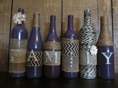 Items similar to FAMILY decorated empty wine bottles on Etsy Empty Wine Bottles, Wine Bottle Corks, Diy Bottle, Wine Bottle Crafts, Bottles And Jars, Mason Jar Crafts, Glass Bottles, Mason Jars, Wine Craft