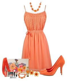 """""""Flowy Sundress in Coral Orange"""" by mozeemo ❤ liked on Polyvore featuring ALDO, KOTUR, Dsquared2, 1st & Gorgeous by Carolee, Tory Burch, Monies, Clarins and Bobbi Brown Cosmetics"""