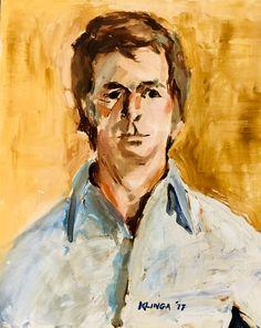 "Vintage unframed stretched canvas portrait of handsome young man by former Westport artist Carmella Klinga. 16""w 20""h"