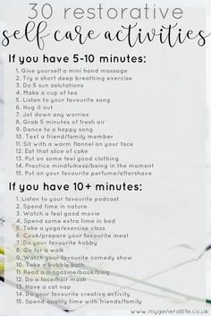Self care is important but something that can easily fall by the wayside. Here's 30 ideas of self care activities that you can do, even if you're short on time. Take your wellbeing into your own hands and make it happen. Self-Care Self Care Activities, Mental Health Activities, Stress Disorders, Self Care Routine, Best Self, Self Development, Personal Development, Self Improvement, No Time For Me