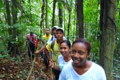 Members of the COCOMASUR community landholder association on a forest patrol.