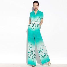 2013 summer new arrival print chiffon jumpsuit  women's wide leg pants loose long trousers casual jumpsuit women  $64.98