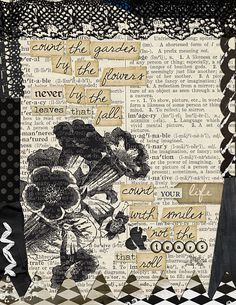 Art Journal Page by Julie Ann Shahin, http://tangiebaxter.com/news/2011/09/28/art-journaling-101-faux-printing-on-dictionary-pages/