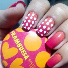 Orange pink nails