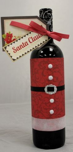 How to wrap a bottle as a Christmas present!! :) What a great idea!!