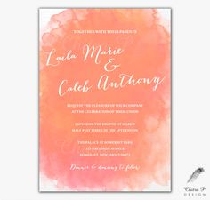 Watercolor Wedding Invitation - Printed or Digital, Orange, Coral Destination, Beach, Bridal, Couples, Baby, Shower, Engagement Party - #W09 by chitrap on Etsy https://www.etsy.com/listing/217059279/watercolor-wedding-invitation-printed-or