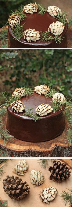 Chocolate Pine Cones made with chocolate fudge and almonds. Easy and so perfect for a rustic Thanksgiving dessert!