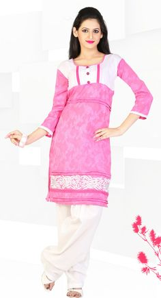 Modish Persian Pink Color Cotton & Jacquard #Kurti