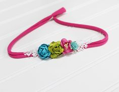 Apple Lime Tango - fun dainty headband in hot pink, fuchsia, apple green, teal, turquoise, aqua and white (RTS) jersey tieback by SoTweetDesigns on Etsy