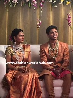 Latest Collection of best Indian Jewellery Designs. Indian Bridal Fashion, Indian Wedding Outfits, Indian Weddings, Family Outfits, Couple Outfits, Couple Clothes, Indian Groom, South Indian Bride, Celebrity Jewelry