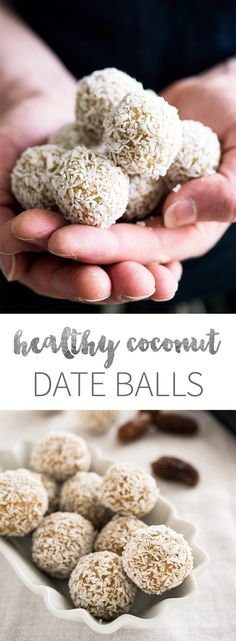 Coconut Date Balls are a great healthy treat! They are made with shredded coconut, cashew butter, and dates. If you're a fan of Raffaello Candy or other coconut treats then you will love these little bites.