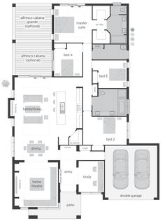 Monte Carlo Executive Elite – Floor plan - Home & DIY Duplex Floor Plans, Home Design Floor Plans, House Floor Plans, Sims 4 House Building, Building Plans, Best House Plans, Dream House Plans, House Plans Australia, Front House Landscaping