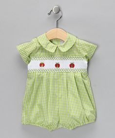 Take a look at this Lime Green Gingham Bubble Bodysuit - Infant by Fantaisie Kids on #zulily today!
