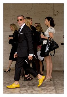 Nick Wooster: style icon, yellow-shoe-wearer. #hip Think these work just as well? http://www.hipswap.com/casual/men-christian-louboutin-loafers-2