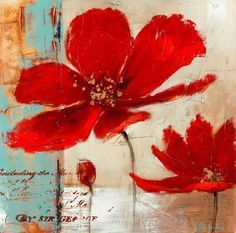 Blue background red poppies flower oil painting on canvas modern pop art wall art home decor living room bedroom office shipping