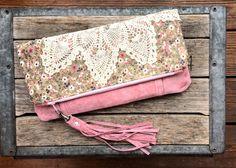 fold over envelope clutch . Pink Grey Floral Vintage by ZiBagz