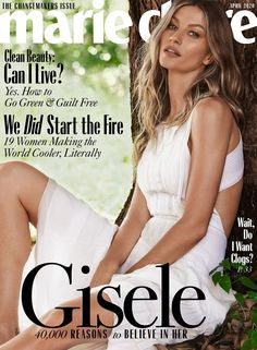 Supermodel Gisele Bundchen looks angelic in white on Marie Claire US' April 2020 cover. Lensed by Nino Muñoz, she wears an ivory dress from Chloe. Gisele Bundchen, Marie Claire, Celine, Foto Magazine, Fendi, Mode Poster, Dior, Vogue, Studio Shoot