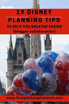 19 Disney Planning Tips to Help You Breathe Easier · Footprints in Pixie Dust Disney World Parks, Disney World Planning, Walt Disney World Vacations, Best Vacations, Disney Travel, Disney World Tips And Tricks, Disney Tips, Disneyland Tips, Disney Ideas